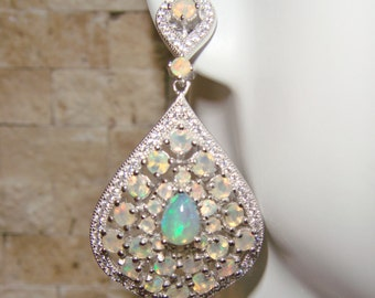 Stunning Moonstone and Opal earrings in Sterling Silver with pave cz