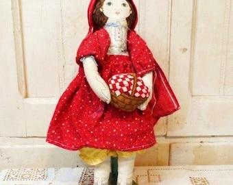 Little Red Riding Hood Rag Doll-Vintage Handmade Cloth Doll-Cute Hand Sewn Rag Bag Dolly-Basket-Flowers-Cape-Shoes-Orphaned Treasure-082416E