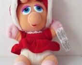 Muppets Baby Miss Piggy Christmas Plush Stuffed Toy 1987 McDonalds Jim Henson