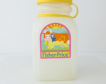 Fisher-Price Fun With Food Toddler Kitchen Frosted Plastic Milk Bottle Replacement Pretend Play 1980s