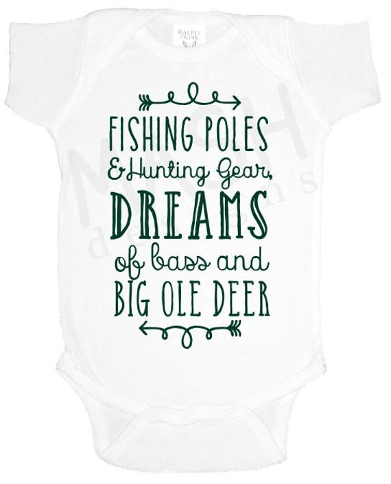 Hunting and Fishing baby one piece baby shower gift southern