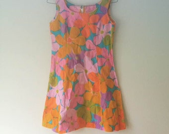 70s retro floral minidress 90s abstract vintage dress size XS