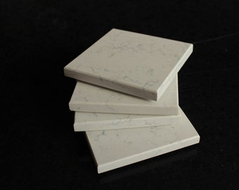 Stone Coasters Set Of Four From Technical White Perlino Stone