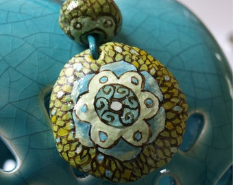 Pendant Green Flower  with leather cord  | Handmade paper mache beads