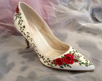 Hand Painted Tattoo Rose Shoe detail