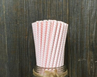 75 Light Pink Chevron Straws, Baby Shower, Wedding or Bridal Luncheon, Birthday Party