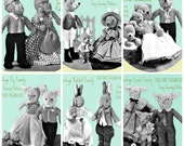 Downloadable vintage animal sewing patterns / rabbit / fox / lamb / pig / monkey / bear families/ Permission to sell