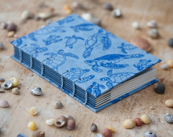 Hand Bound Turtle Sketchbook - Coptic Stitch - Journal / Notebook - Blue - A6 Small - Travel Journal / Diary - Ocean / Sea / Animals