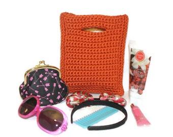Little Girl's Crochet Purse, Fall Purse, Pumpkin Orange, Trick or Treat, Halloween, Thanksgiving, Autumn Purse, Little Girl Gift