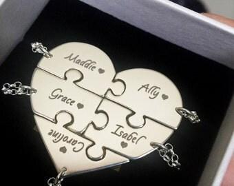 5 Piece Best Friend Necklace, 5 Piece BFF Necklace, Bridesmaid Necklaces For 5, Family Name Necklace Set, Puzzle Necklaces, Engraved.