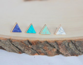 Triangle stud earrings, Marbel earrings, Triangle studs, Modern jewelry, Small Earrings, Dainty Jewelry, Bridal Bridesmaid