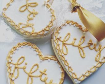 Anniversary/Birthday Iced Shortbread Cookies (1 Dozen)