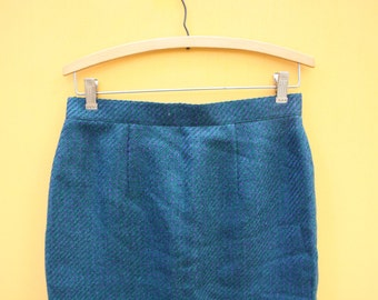 Vintage Blue Wool Pencil Skirt/ Womens Medium [ Cute Retro Womens Officewear Blue Turquoise Fitted Winter Heavyweight] 29 inch waist
