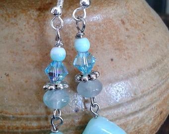 Amazonite earrings, boho earrings, long earrings, blue earrings, dangle earrings