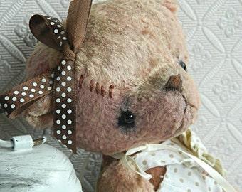 """OOAK Art Teddy Bear  Vintage Plush """"Svetik"""""""