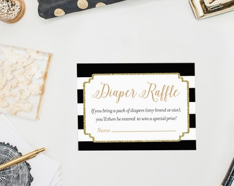 Black and Gold Diaper Raffle Tickets, Gold Glitter Baby Shower Game, Printable Diaper Raffle Ticket, Baby Shower Bling, Boy or Girl Winter