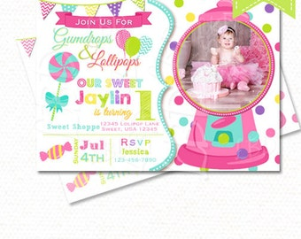 Candy Land Invitation, Sweet Shoppe Birthday Invitation, CandyLand Invitation, Sweet Shoppe Party, 1st Birthday, Sweet 16, Any Age, Style 23