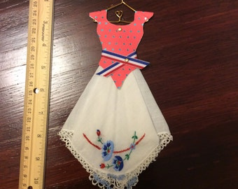 Hanky Girl - Red, White and Blue with flowers on skirt