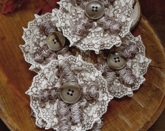 Mori Girl Rosette ~ Dolly Kei Brooch ~ Vintage Lace, Craft Lace, and Vintage Button ~ Handmade by The Ivory Dolls