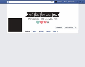 Heart Pregnancy baby facebook banner, maternity photo prop, Custom And Then There Were 3, 4, 5 or 6 (dog print, big sister/brother heart)
