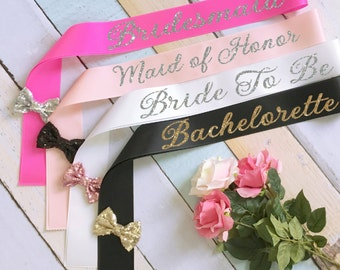 Bride Sash with Sequin Bow. Bridal Sash. Bachelorette Sash. Wedding Sash. Bridesmaid Sash. Maid of Honor Sash. Bridal Party Sashes.