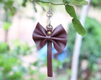 genuine leather bow keychain