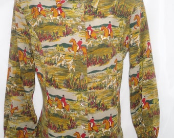 Horse & Hounds Scene 1980's Ladies Shirt Blouse by Eastex 12 UK 10 US  Vintage