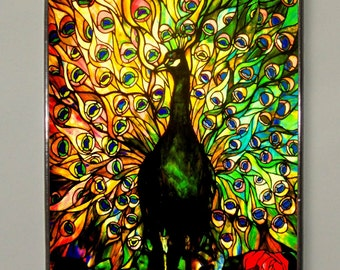 Louis Comfort Tiffany - Peacock, Stained Glass Art Window