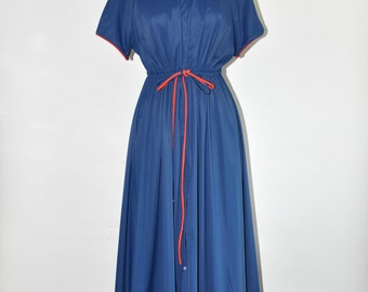 50s navy blue maxi dress / 1950s fit and flare dress / vintage short sleeve dress