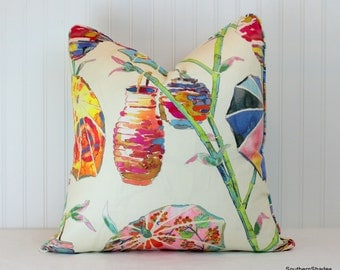 One or Both Sides - One Kravet Umbrellas Rainbow/ Spring Pillow Cover with Self-Cording