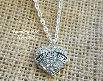 Police Wife Rhinestone Heart Necklace by Gunpowder Woman for the Law Enforcement Thin Blue Line Wives