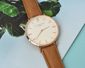 Modern - Vintage Personalised Leather Watch in Camel - San Serif Font - Ladies Watch - Secret Message - Made to Order - FREE UK DELIVERY