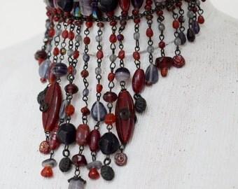 Vintage 80's MARC LABAT Choker Necklace ~ Red & Purple Glass beads