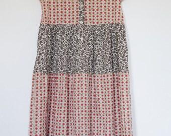 Vintage GIRANDOLA Girls Size 12 Floral Dress, Short Sleeves, 100% Cotton, Pink Brown