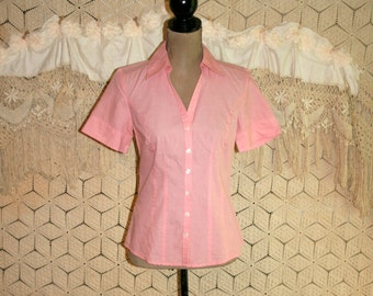 Cotton Shirt Pink Blouse Short Sleeve Top Button Up XS Size 2 Tailored Casual Fitted Chambray Pink Top Pink Shirt Ann Taylor Womens Clothing