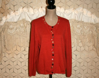 Burnt Orange Cardigan Sweater Womens Cardigan Fall Cardigan Plus Size Cardigan XL Cotton Button Embellished Womens Vintage Clothing