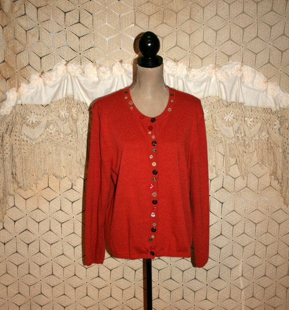 Burnt Orange Cardigan Sweater Womens Cardigan Fall Cardigan