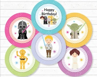 Star Wars Cupcake Toppers, Star Wars  stickers, Star Wars birthday, Star Wars party, Girl, Printable, INSTANT DOWNLOAD