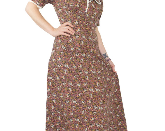 50s Vintage Prairie Dress | Gunne Sax Style Floral Dress | Size Small | Boho Hippie Calico Lace