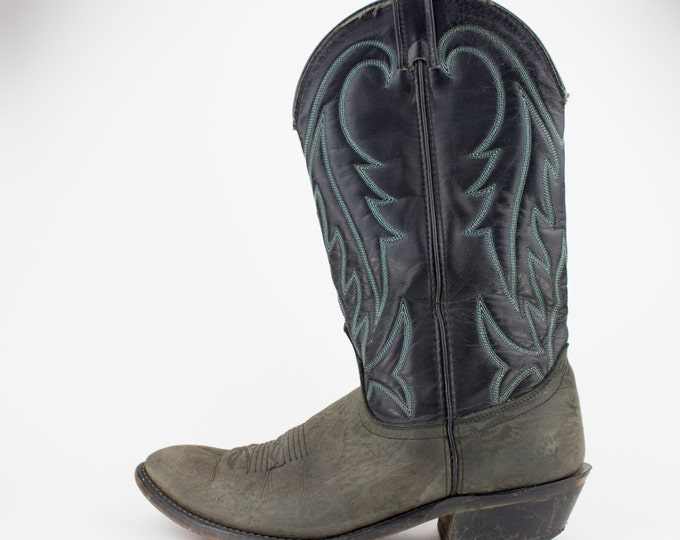 80s Vintage Black Cowboy Boots | Laredo Western Boots | Black and Grey Leather | Men's 9.5 D UK 9 Euro 42 - 43