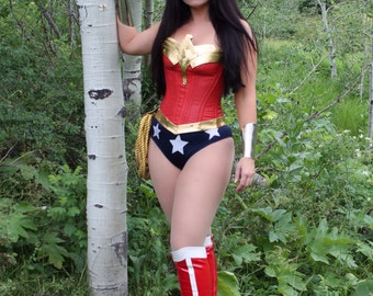 Wonder Superhero Woman COSTUME w/Navy and White Stars AND Double Pointed Tiara