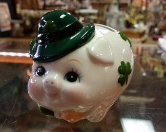 Lefton Porcelain Irish Shamrock Piggy Pig Bank