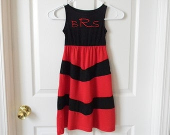 Mother daughter matching dress, Mommy and Me Dress in Red and Black Chevron Maxi Dress. Monogram On Front Of Each Dress