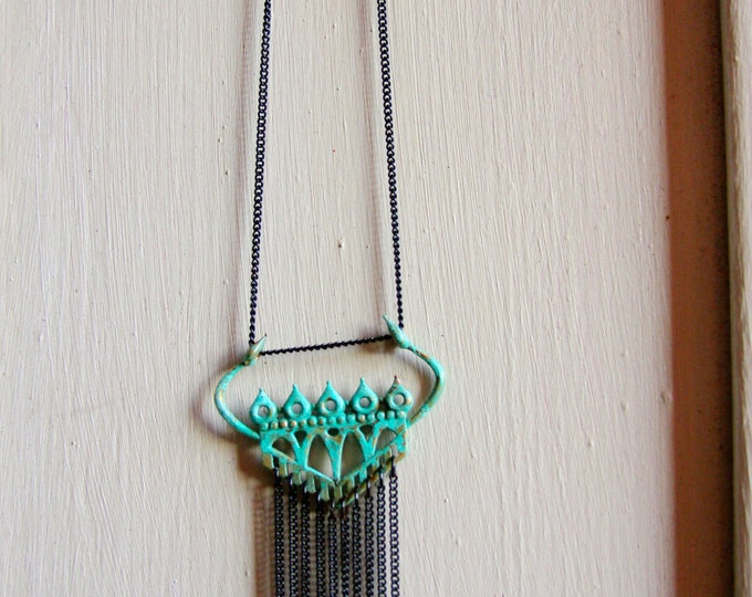 """Fortress"" Pendant in Verdigris Bronze with Chain Fringe"