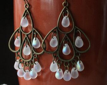 NEW! Large Frosted White Iridescent Chandelier Earrings,  Bohemian Cascade Earrings, Large Boho Dangles, Czech Glass, Gypsy Jewelry