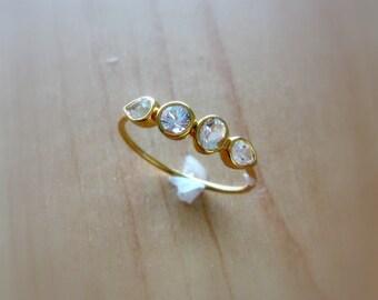 Diamond Gemstone Band, 14K Gold, Made to Order, 4 Stone Ring, Birthstone Ring, white, yellow, or rose gold