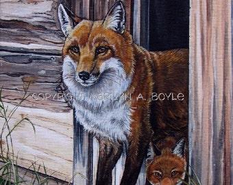 ORIGINAL ACRYLIC PAINTING; art,fox and kit,abandoned building,Canada,wildlife, nature,12x16 inch,narrow wood frame, Canadian art, wall art,