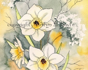 ORIGINAL WATERCOLOR PAINTING; watercolor and ink, jonquils, yellow color, matted 11 x 14 inches, wall art, Canadian art,