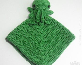 Amigurumi Cthulhu Lovey /Security blanket, mercerised cotton, crocheted. Square dimensions : approx. 30x30 cm