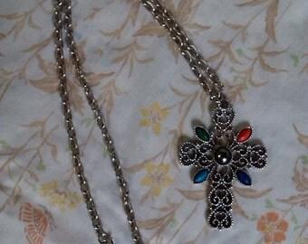 1970s Avon Romanesque Cross Necklace Silver Tone